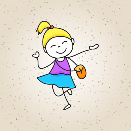 nursery school: hand drawing cartoon happy kids vector