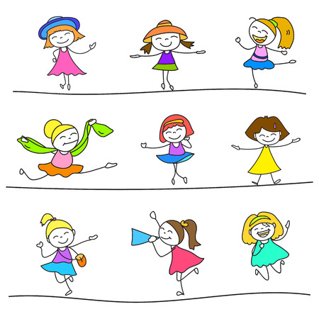 character of people: hand drawing cartoon happy kids vector Illustration