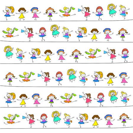 character of people: hand drawing cartoon happy kids vector eps 10