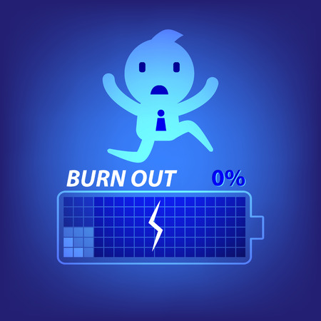 burn out: business burn out concept illustration in blue background vector