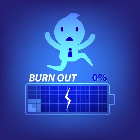 burn out: zakelijke burn-out concept illustratie in blauwe achtergrond vector