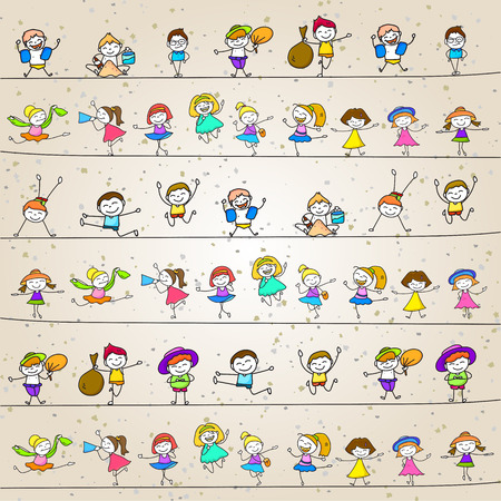 family playing: hand drawing cartoon character happy kids playing