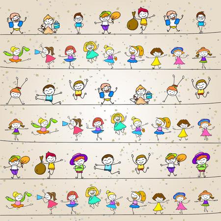 familia animada: personaje de dibujos animados dibujo de la mano ni�os felices jugando Vectores