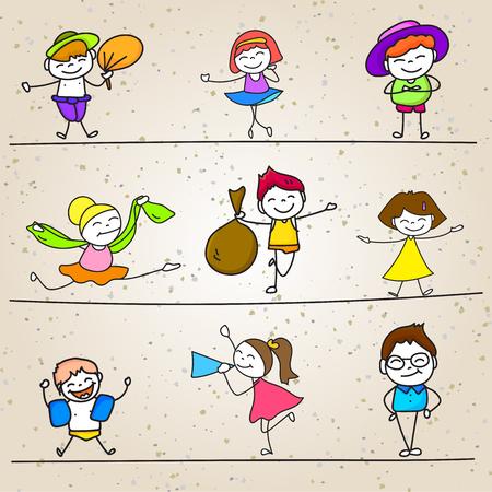 drawing cartoon: hand drawing cartoon character happy kids playing