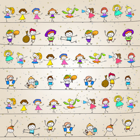 stylized: hand drawing cartoon character happy kids playing