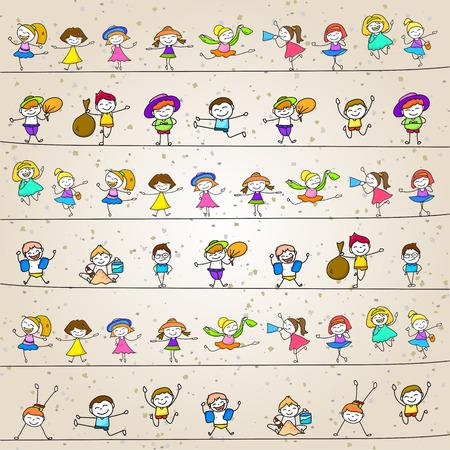 dessin: personnage de dessin anim� de dessin � la main heureux enfants qui jouent