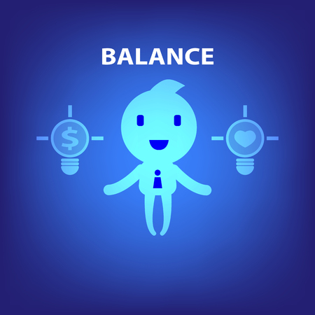 equal opportunity: business cartoon character balance concept illustration in blue background vector