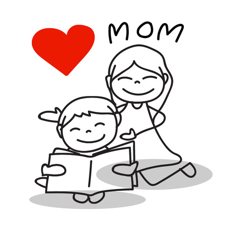 love mom: d�a de dibujos animados dibujo de la mano amor mam� feliz mother� � � s Vectores