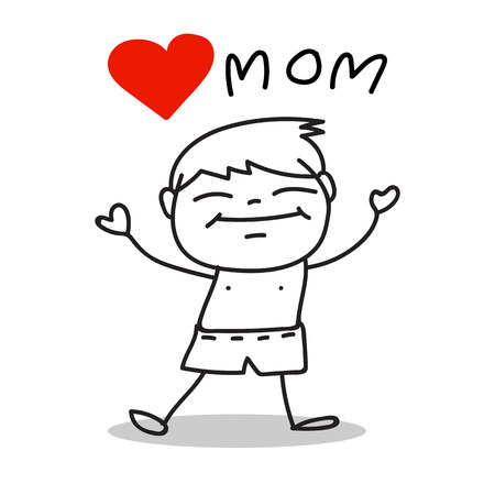 s day: hand drawing cartoon love mom happy mother's day
