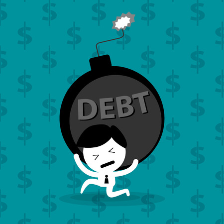 leasing: man bearing debt bomb financial problem vector concept