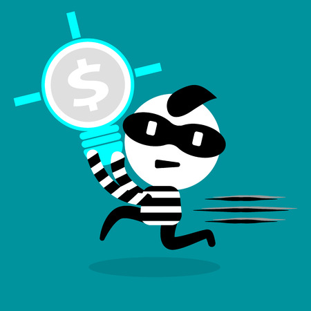 resourceful: thief stealing bulb, idea, money, and intellectual right