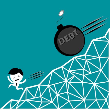 leasing: man run away from debt bomb down hill, financial problem vector concept