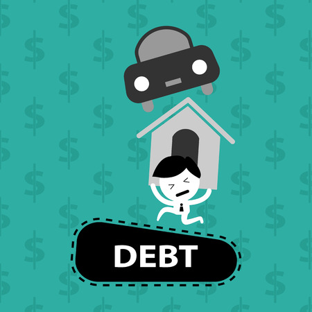 car bills: man bearing on debts, home loan, car, bills vector cartoon concept