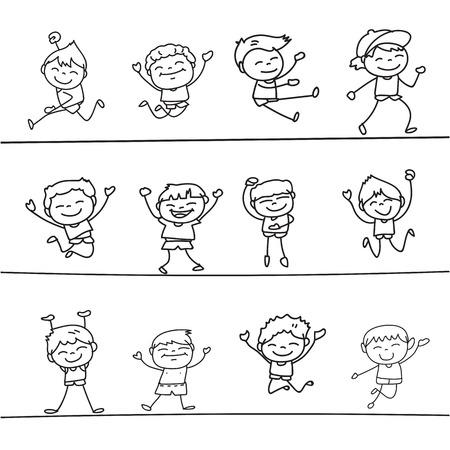 drawing cartoon: happy boys hand drawing cartoon character illustration