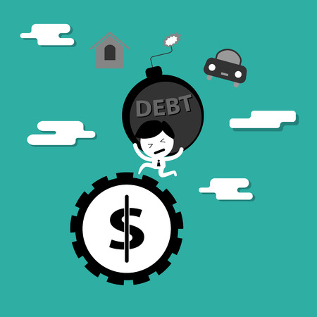 car bills: man bearing debt bomb running on money wheel  cartoon concept