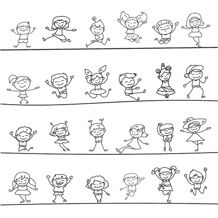 character of people: happy kids hand drawing cartoon character