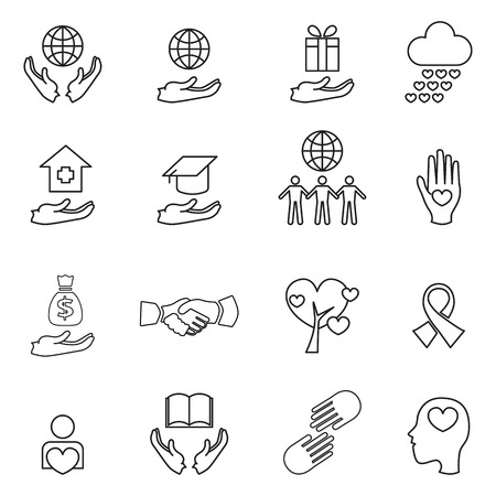 social awareness symbol: charity and donation line icons  Illustration