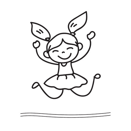 hand drawing cartoon happy girl dancing