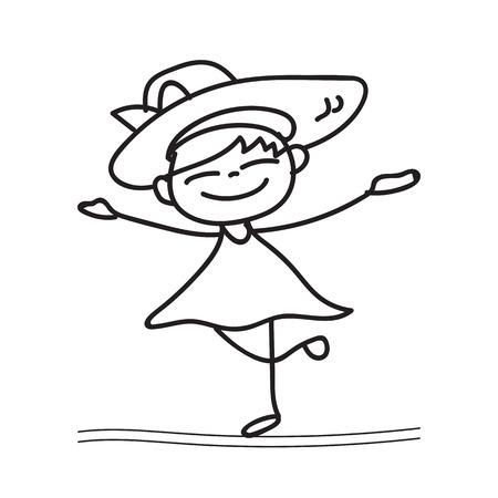 drawing cartoon: hand drawing cartoon happy girl dancing