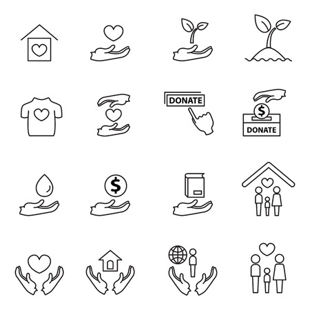 sheltering: charity and donation line icons set design vector