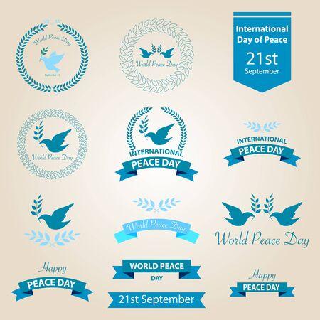 paz mundial: Mundo insignias d�a de paz y etiquetas de dise�o vectorial