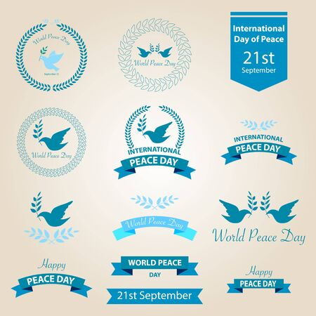 peace: World peace day badges and labels vector design