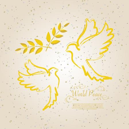 International Peace Day golden dove vector illustration design
