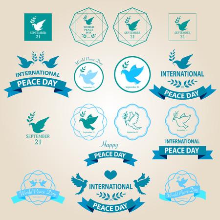 paloma de la paz: Mundo insignias d�a de paz y etiquetas de dise�o vectorial