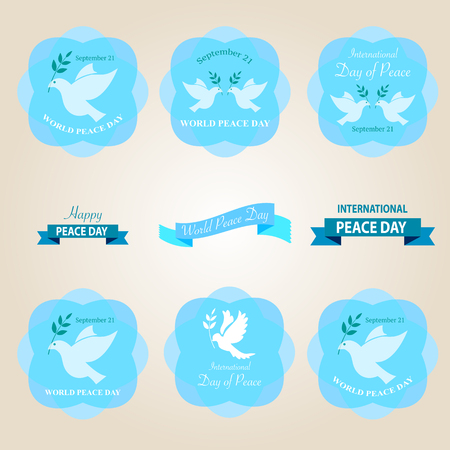 peace day: World peace day badges and labels vector design