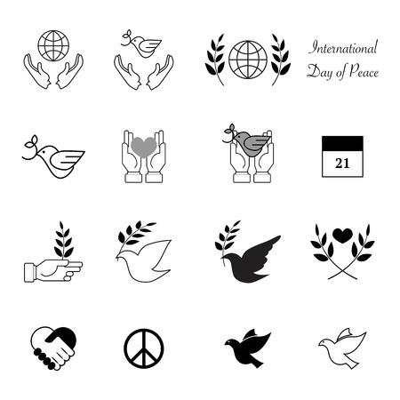paloma de la paz: Mundial de dise�o Iconos del d�a de la paz vectorial eps 10