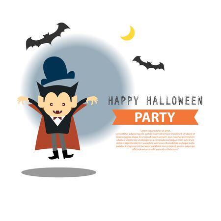 vampire cartoon: Happy Halloween party cute vampire cartoon character vector illustration design background