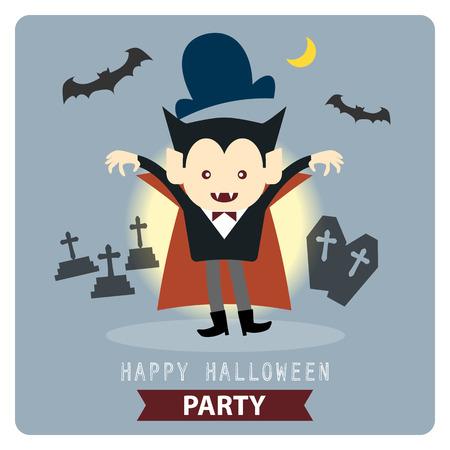 cartoon kid: Happy Halloween party cute vampire cartoon character vector illustration design background