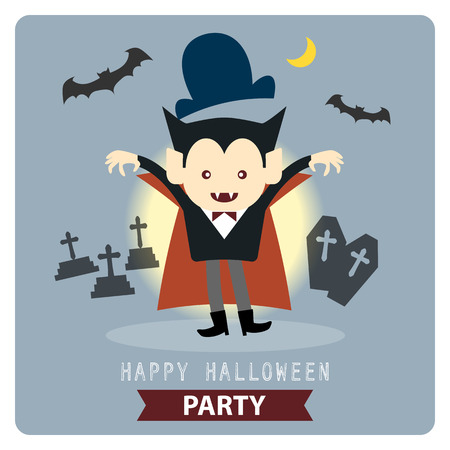 Happy Halloween party cute vampire cartoon character vector illustration design background