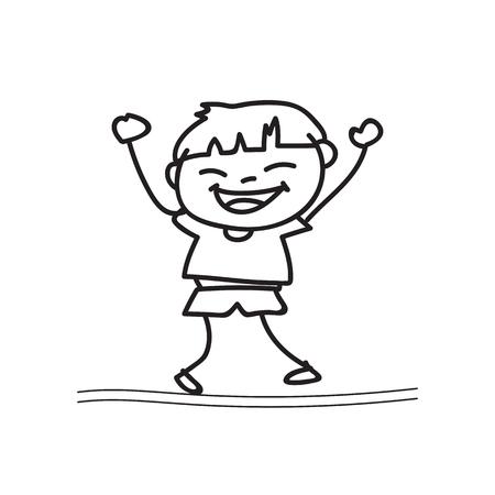 drawing cartoon: hand drawing cartoon happy boy playing vector design