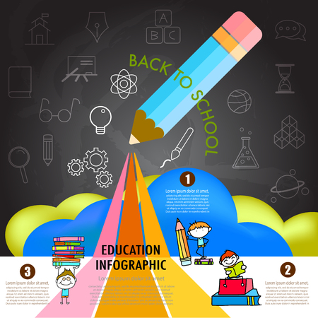 school website: back to school, education, infographics design element with icons set and cartoon character