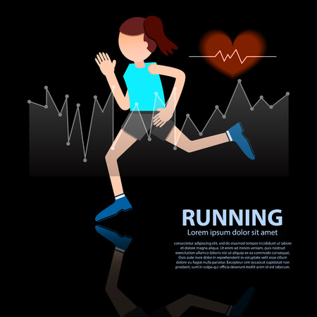 black heart: woman running healthy lifestyle figure with hear rate on black background vector illustration