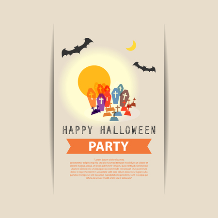 yard: Happy Halloween Party grave yard with full moon and batsillustration vector design