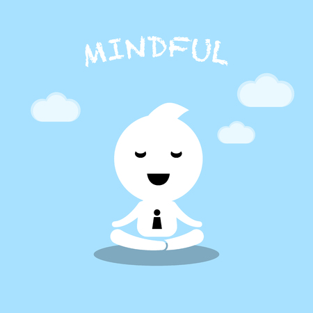cartoon work: abstract character conceptual businessman practice meditation cartoon illustration design Illustration