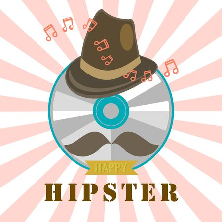 cd label: hipster cd and music badge and label vector design illusatration