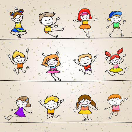 childhood: happy kids hand drawing cartoon character vector illustration