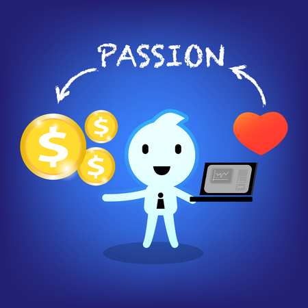 earn money: abstract character conceptual businessman working with passion to earn money cartoon illustration design Illustration