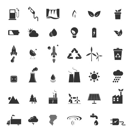 eco icons: renewable energy, green, eco, creative design icons set vector illustration Illustration