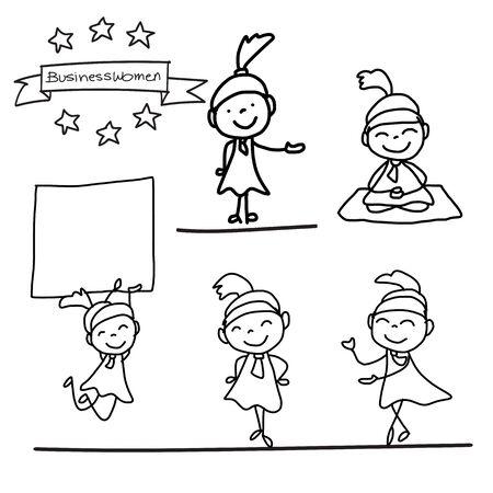 hand work: set of hand drawing cartoon charactor happy businesswomen in different postures illustration
