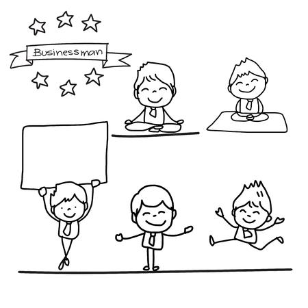hand work: set of hand drawing cartoon charactor happy businessman in different postures illustration