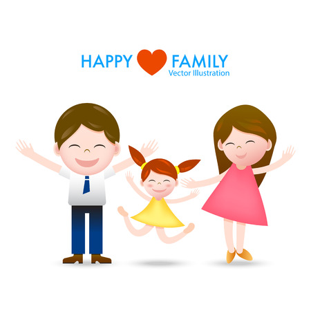 mom and daughter: Cartoon happy family dad, mom and daughter with smile and joyful vector illustration