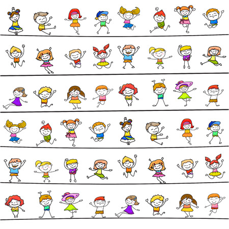 child girl: happy kids hand drawing cartoon character vector illustration
