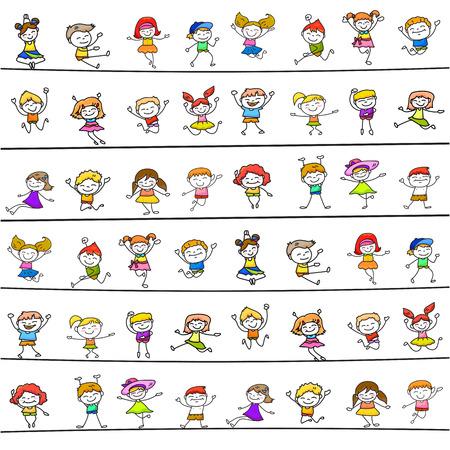 character abstract: happy kids hand drawing cartoon character vector illustration