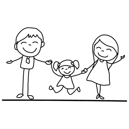 black family smiling: hand drawing cartoon happy young family vector illustation