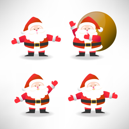 set of Santa Claus in different action vector illustration for Christmas celebration