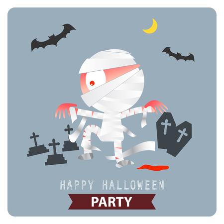 mummy: Happy Halloween Party mummy background illustration vector design